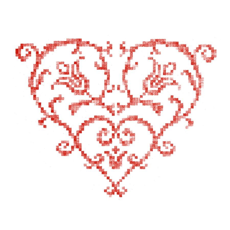 Cœur brodé alsacien 6